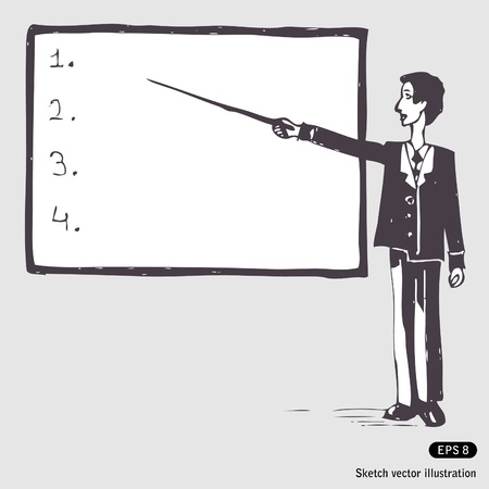 Hand drawn illustration of a student at the blackboard Stock Vector - 13747360