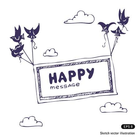 Hand drawn banner with the birds in the sky Ilustra��o