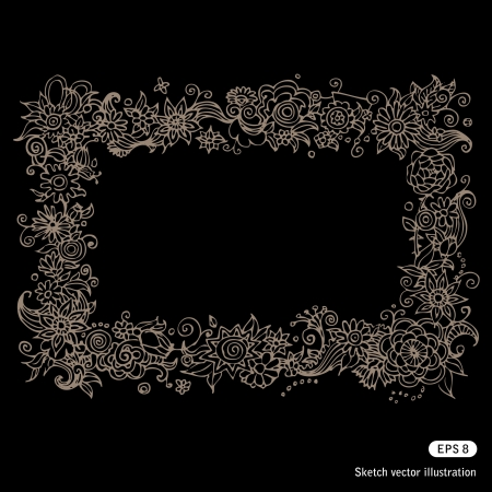 Hand drawn beautiful floral frame isolated on white Stock Vector - 13747372