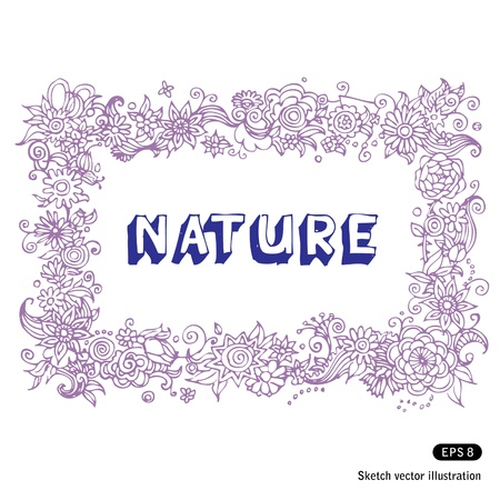 Hand drawn beautiful floral frame isolated on white Stock Vector - 13747373