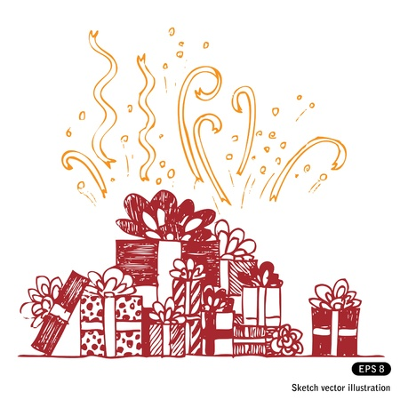 Hand drawn beautiful gift boxes composition on white