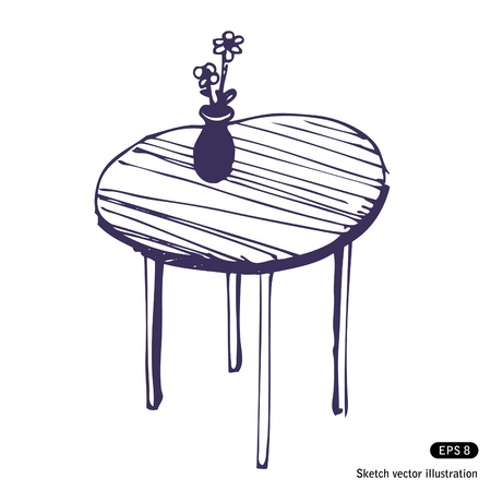 Hand drawn beautiful table and vase with flowers Vector
