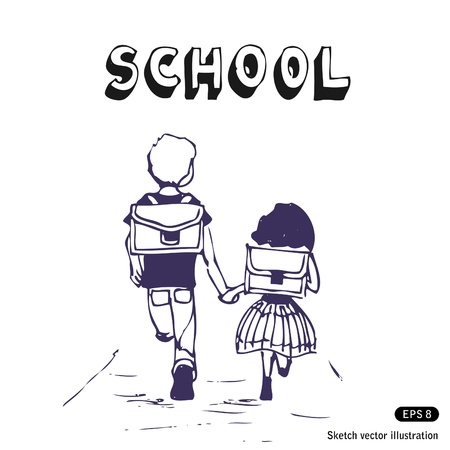 Illustration of boy and girl go to school Vector