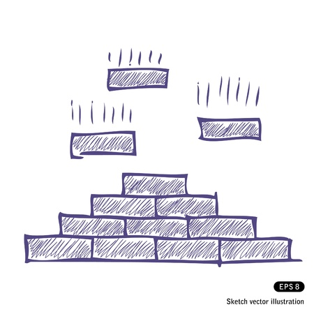 Hand drawn brick pyramid isolated on white background Stock Vector - 13747380