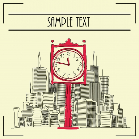 Hand drawn clock illustration on front of cityscape Vector