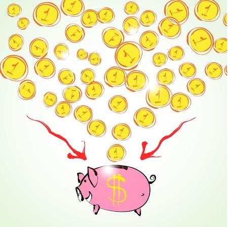 Hand drawn piggy bank illustration on white background Illustration
