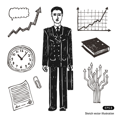 Hand drawn business and finance icon set  Businessman  Stock Vector - 13826784