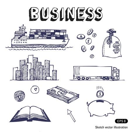 moneybox: Dibujado a mano los negocios y las finanzas de negocios conjunto de iconos Vectores