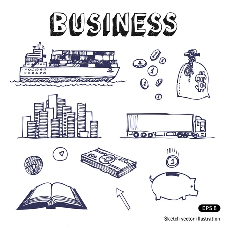 hand truck:   Hand drawn business and finance icon set  Businessman  Illustration