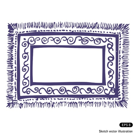 persian culture:   Hand drawn carpet frame isolated on white background Illustration