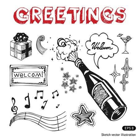 Celebration icons set  Hand drawn vector illustration