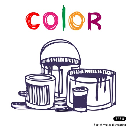 Color banks. Hand drawn vector illustration on white Stock Vector - 13826831