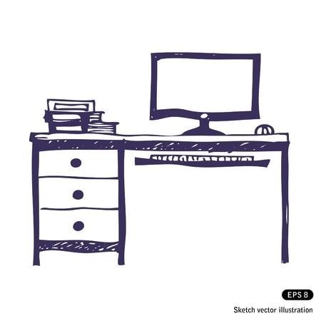 Computer desk. Hand drawn vector illustration on white