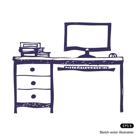 work place:   Computer desk. Hand drawn vector illustration on white