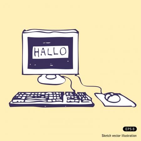 Computer Says Hallo. Hand drawn sketch illustration Vector