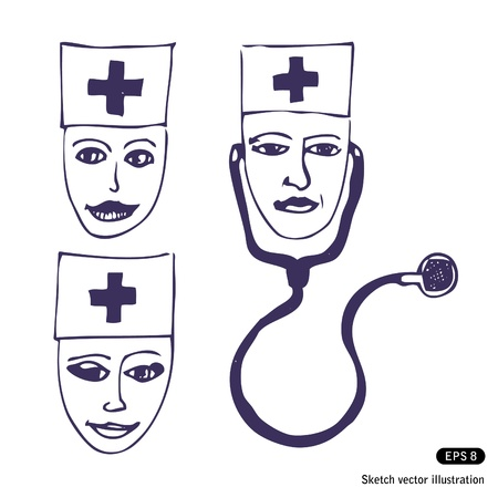 Doctors. Three hand drawn faces illustrations isolated on white Stock Vector - 13826800