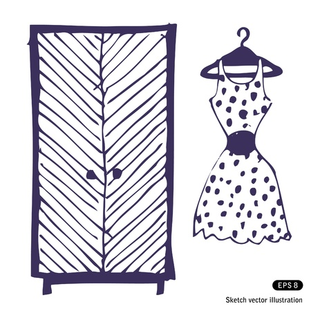 turnout:   Dress and wardrobe. Hand drawn vector illustration Illustration