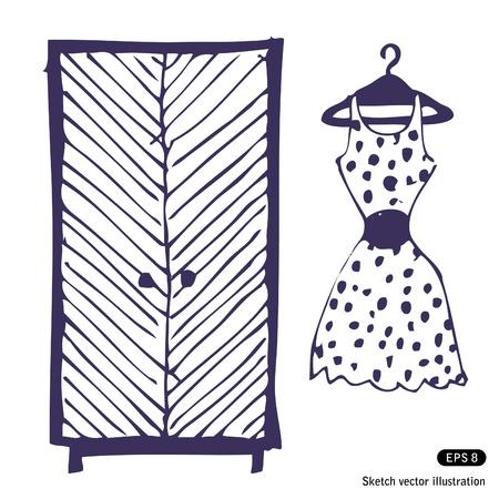 armarios: Vestido y un armario. Dibujado a mano ilustraci�n vectorial