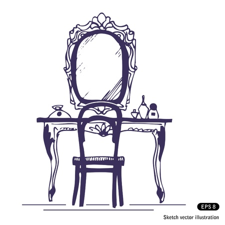 dressing:   Dressing table and mirror. Hand drawn vector illustration