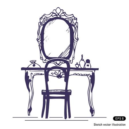 Make-up tafel en spiegel. Hand getrokken vector illustratie