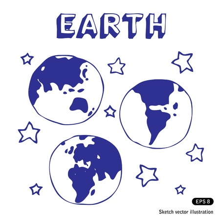 earth space:   Earth and stars. Hand drawn vector illustration