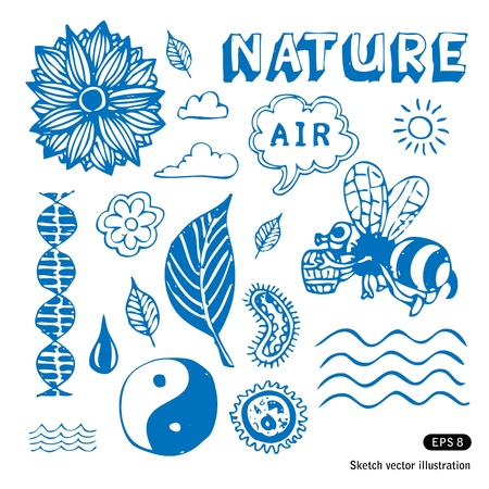 Ecology icons set. Hand drawn vector illustration Vector