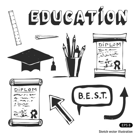 Education and school icons set. Hand drawn vector illustration Vector