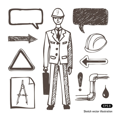 Engineering icons set. Hand drawn vector illustration Stock Vector - 13826839