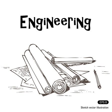 Engineering projects  Hand drawn illustration on white Vector
