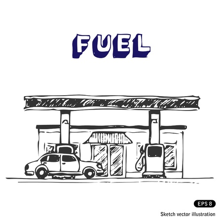 Fuel station  Hand drawn illustration on white Vector