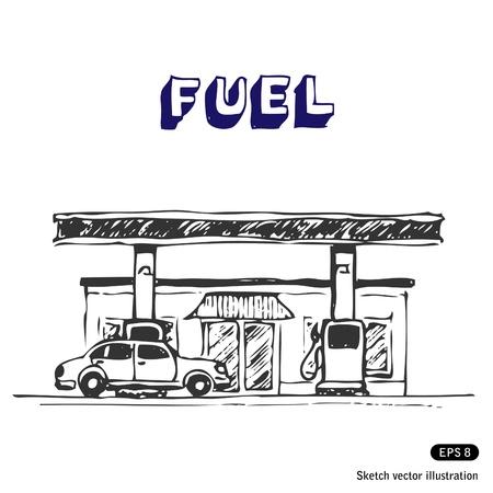 gasolinera: Mano Estación de combustible elaborado ilustración en blanco Vectores