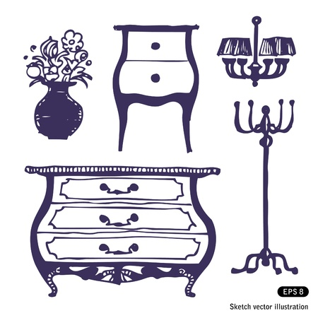 Furniture set  Hand drawn illustration on white Vector