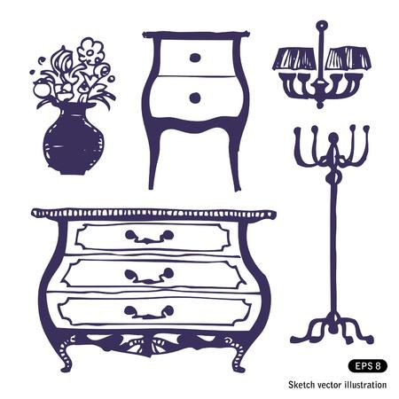 Furniture set Hand drawn illustration on white