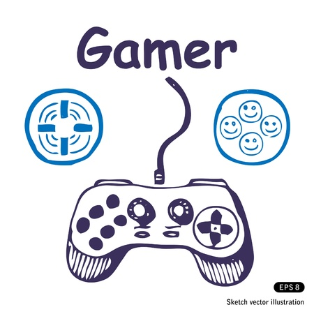 gamer:   Gamepad and multiply icons  Hand drawn illustration on white