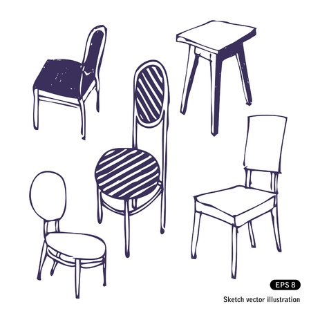 Hand-drawn chairs  Isolated  Hand drawn vector illustration on white Vector