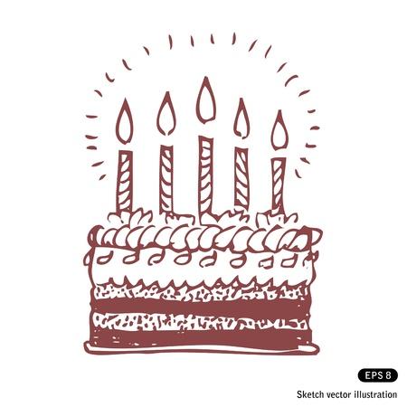 happy birthday cake:   Happy birthday cake. Hand drawn illustration on white