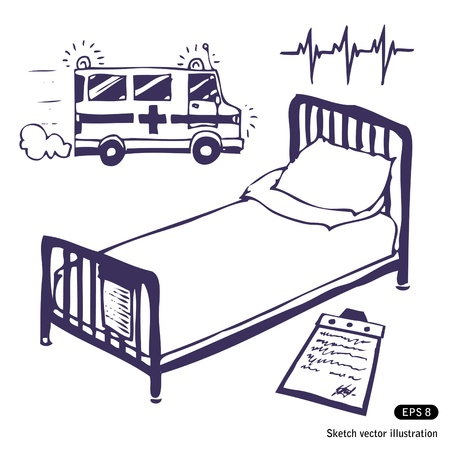 Hospital bed and ambulance. Hand drawn illustration on white Stock Vector - 13850817
