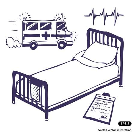 spital ger�te: Krankenhausbett und Krankenwagen. Hand gezeichnete Illustration auf wei� Illustration