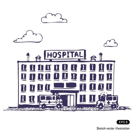 college building:   Hospital building. Hand drawn illustration on white