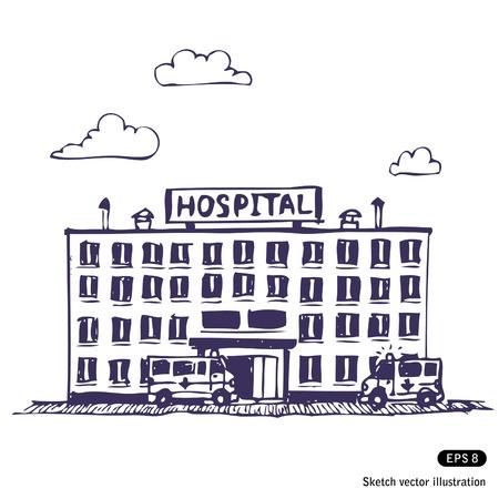 medical drawing: Hospital de edificio. Ilustraci�n Dibujado a mano sobre fondo blanco