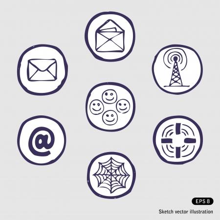 Dispositivos de Internet conjunto de iconos. Ilustración Dibujado a mano sobre fondo blanco