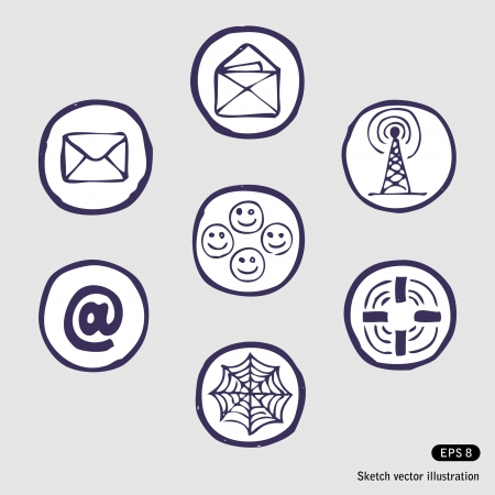 hand pencil:   Internet devices icon set. Hand drawn illustration on white Illustration