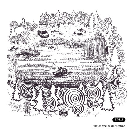 Lake in the woods. Hand drawn illustration on white Vector