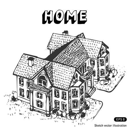 wealthy lifestyle:   Luxury home. Hand drawn illustration on white