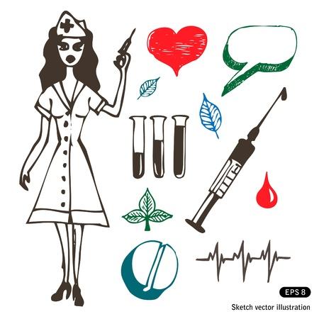 syringe inoculation:   Medicine icon set. Hand drawn illustration on white