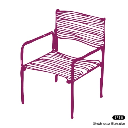 Modern chair. Hand drawn vector illustration on white Vector