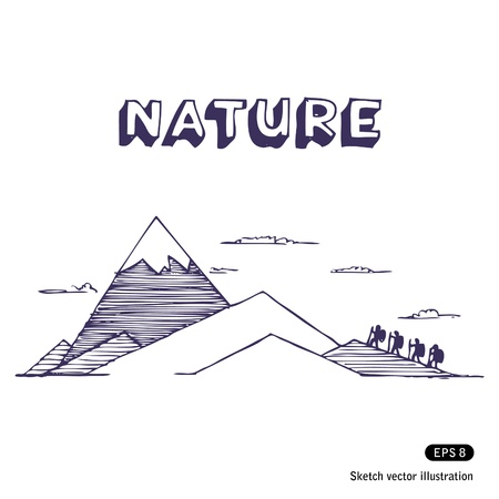 Mountaineering. Hand drawn vector illustration on white Illustration