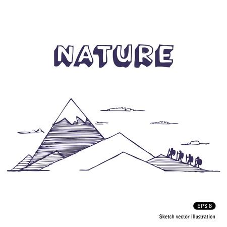 Mountaineering. Hand drawn vector illustration on white Ilustra��o