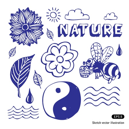 Nature icons set. Hand drawn isolated on white Vector
