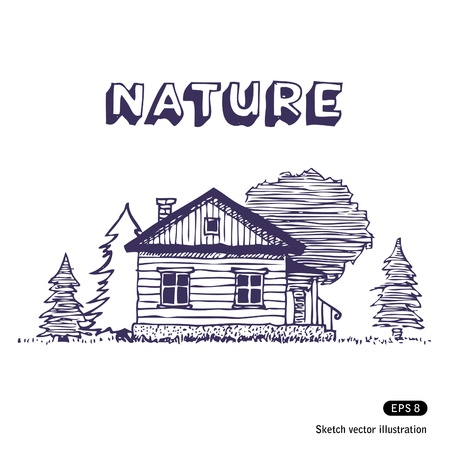 Rural lodge  Hand drawn isolated on white Stock Vector - 13883159